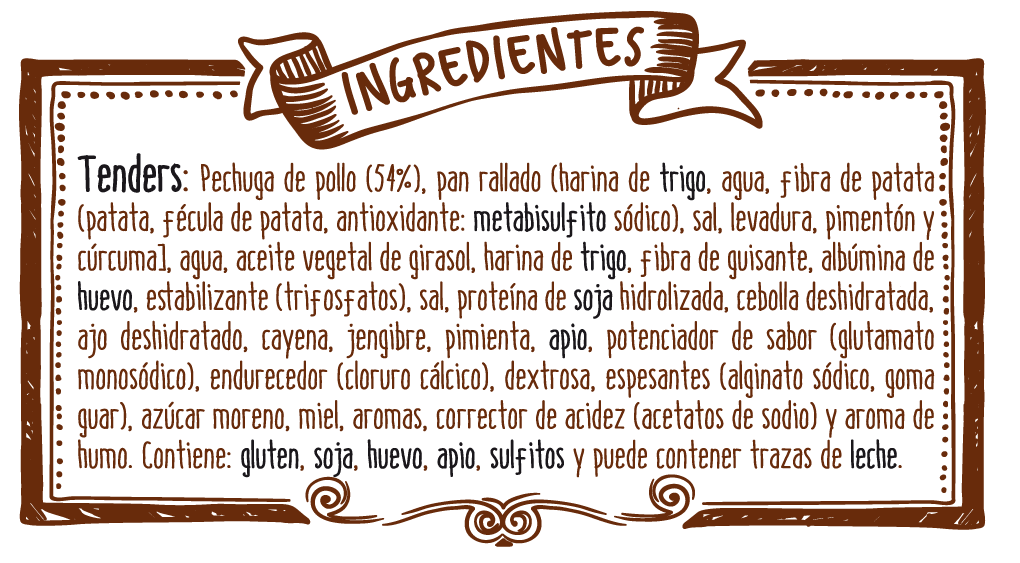 ingredientes tenders barbacoa y miel